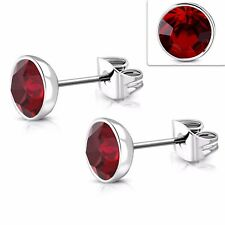 7mm Round Stainless Steel Earring Studs Made with Red Swarovski Elements