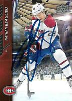 Nathan Beaulieu Signed Auto 2015 Upper Deck Montreal Canadiens Card - COA - NHL