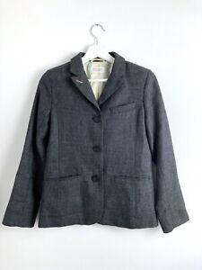 Toast Womens Grey Tweed Wool Linen Long Sleeve Blazer Jacket Size 8