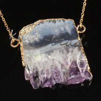 Gold Natural Amethyst Quartz Cluster Druzy Crystal Random Stone Pendant Necklace