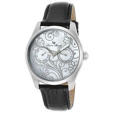 Lucien Piccard 10147-02MOP Black Genuine Leather White Dial Women's Quartz Watch