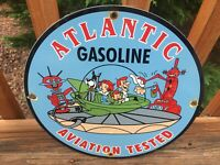 Vintage Atlantic Gasoline Aviation Porcelain Gas & Oil Sign 12""