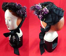 Victorian Black Straw Silk Velvet Violet Flowers Trim Bonnet Mourning Hat Vtg