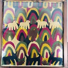 "Primitive folk Art Tapestry Large Framed Wall Hanging 31""X33"" Tribal Masterpiece"