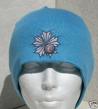 LADY ROSSIGNOL TURQUOISE FLOWER SKI BOARD BEANIE HAT