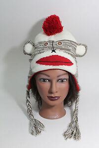 SOCK MONKEY WOMEN'S Knit Beanie Skull Cap Hat Snow Ski Warm One Size