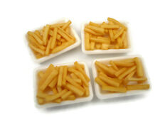 4 Set French Fries on White Tray Dollhouse Miniatures Bakery Fast Food