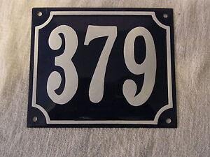 Vintage German Enamel & Iron Sign Blue House 379 #B