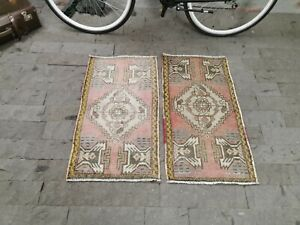 Twin Small Runner Rug, Oushak Door Mat, 1.7x3.2ft, Vintage Turkish Rug, Pink Rug