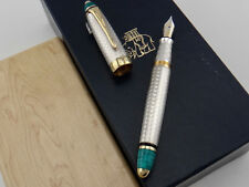 MICHEL PERCHIN Art Deco Guilloché 925 Sterling Silver & Turquoise Enamel 48/88 M