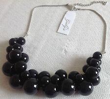 collier rétro perle noir genre grappe de raisin qualité couleur argent A20