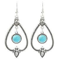Beautiful Fashion Vintage Large Turquoise Dangle Hook Earrings