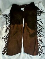 VINTAGE CHAP-PAREL BROWN SUEDE LEATHER COWBOY CHAPS GERALD ROBERTS