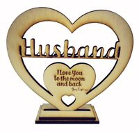 Personalised Wooden Heart Freestanding YOUR TEXT! Valentine's Birthday