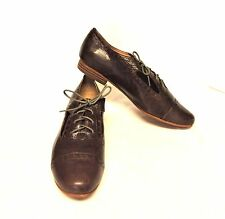 NEW Fossil 11/43 Baisley Boyfriend Oxfords Brown Leather Lace Up Cap Toe Flat