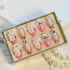 24 PCS Wedding False Nails with Pearl Flowers Oval Full Short Acryli Nail