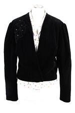 Vintage Sailer Trachten Cropped Soft Velvet Blazer Jacket Lined 40 Black - BJ...