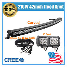 "Kit & Curved 42inch 210W CREE LED Light Bar Single Row Slim Lamp & 4"" Spot Pods"