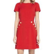 Closet Red & Gold Button Skater Dress Size UK 8 Lf085 FF 09