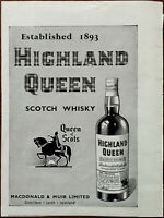 Highland Queen Scotch Whiskey Established 1893, Queen of Scots Vintage Ad 1958