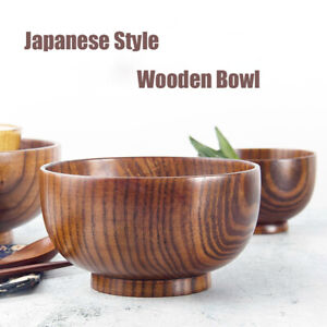 Japanese Style Wooden Bowl Soup/Salad/Rice Bowls Natural Wood Tableware Adorable