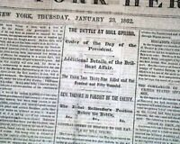 BATTLE OF MILL SPRINGS Kentucky Gen. George H. Thomas 1862 Civil War Newspaper