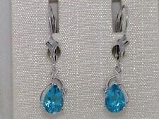 Blautopas Ohrhänger 585 Weißgold 14Kt Gold beh Blautopas Brillanten