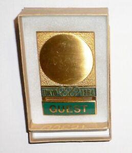 1964 OLYMPIC GAMES TOKYO JAPAN Original Official Guest Badge NO RIBBON Very Nice