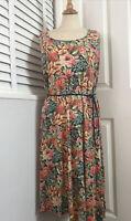 LAURA ASHLEY Stretch Jersey Floral Cottage Garden Belted Midi Dress UK 12