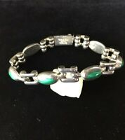 Vintage Taxco Sterling Silver Bracelet Green Malachite Stones Heavy Box Clasp