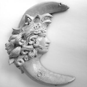 "9"" Handmade Crescent Moon Goddess Wall Sculpture for Home, Garden, Ready to Hang"