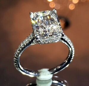 4.01ct Radiant Cut Solitaire Diamond Engagement Ring Band Solid 14K White Gold