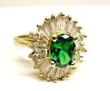 Vintage Estate 14K Yellow Gold Emerald Lab-Diamonds Cocktail RING size 6