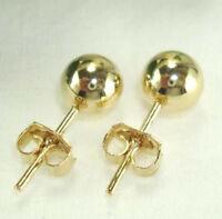 14 KT Yellow Gold Overlay Ball Stud Earrings Lifetime Warranty Size 3 MM - 10 MM