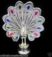 Beautiful  Shiny Silver Metal Peacock With Colourful Stones Decoration piece