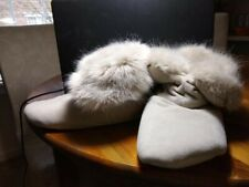 RH Slouchy Slipper Booties, Furry lined, Faux suede look, Soft grey ,Size Lge,