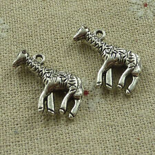 free ship 58 pieces tibetan silver giraffe charms 24x18mm #3850
