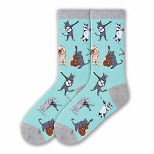 K.Bell Musical Cats Socks Cotton Blend Ladies Crew Bright Blue Socks New
