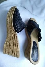 SPRING STEP BLACK LEATHER WEDGE SHOES LIGHT SANDALS OPEN TOE EUR 39 SIZE 8