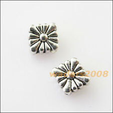 15 New Square Flower Charms Tibetan Silver Tone Spacer Beads 6.5x7mm