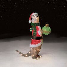 NEW Outdoor Lighted Christmas Holiday Yard Decoration Tinsel Otter