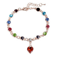 Fashion Women's Jewelry Crystal Rhinestone Heart Bangle Bracelet Party Gift
