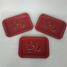 "Vintage 3 Piece Metal Tip Tray Red Rose 6.75"" x 5"" Small Dresser Tray Flower"