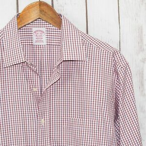 Brooks Brothers MADISON fit Button up Dress Shirt White Red Grid 16 1/2 33