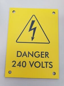 Danger Traffolyte Label Yellow/Black 240V electrical sign tag