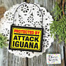 Wood Ornament DECO Mini Sign PROTECTED BY ATTACK IGUANA PLAQUE Gag Gift New USA