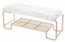 New Bold Tones Rectangular Gold Metal Bench with White Fur Top, QI003519L