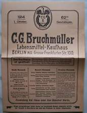 Berlin 1914 Lebensmittelprospekt aus dem Ersten Weltkrieg Kaufhaus Bruchmüller
