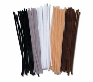 Darice Chenille Stems Assorted, 100 Pieces, Pipe Cleaners Tan Black White Brown