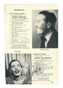 BILLIE HOLIDAY signed vintage BROADWAY WHO'S WHO page
